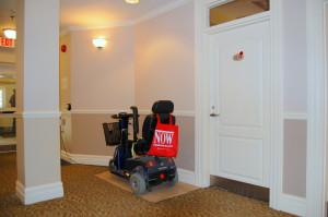 motorized scooter in hallway