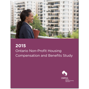 Cover of ONPHA Salary Survey Report. Text reads 2015 Ontario Non-Profit Housing Compensationand Benefits Study. Image of a woman with high-rise apartment in the background