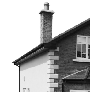 Black and white image of house, cropped to roof and chimney