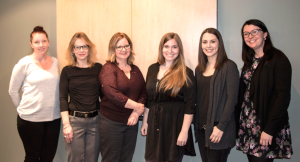 Picture of new ONPHA staff, six women standing in the office