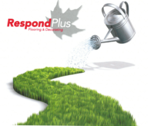 Respond Plus Flooring and Decorating, image of a watering can watering a grassy path