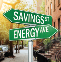 Street signs: savings street, Energy Ave
