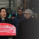 Justin Trudeau annoucing at podium