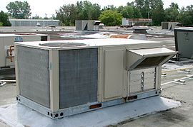 Make-up air unit sitting on rooftop of building