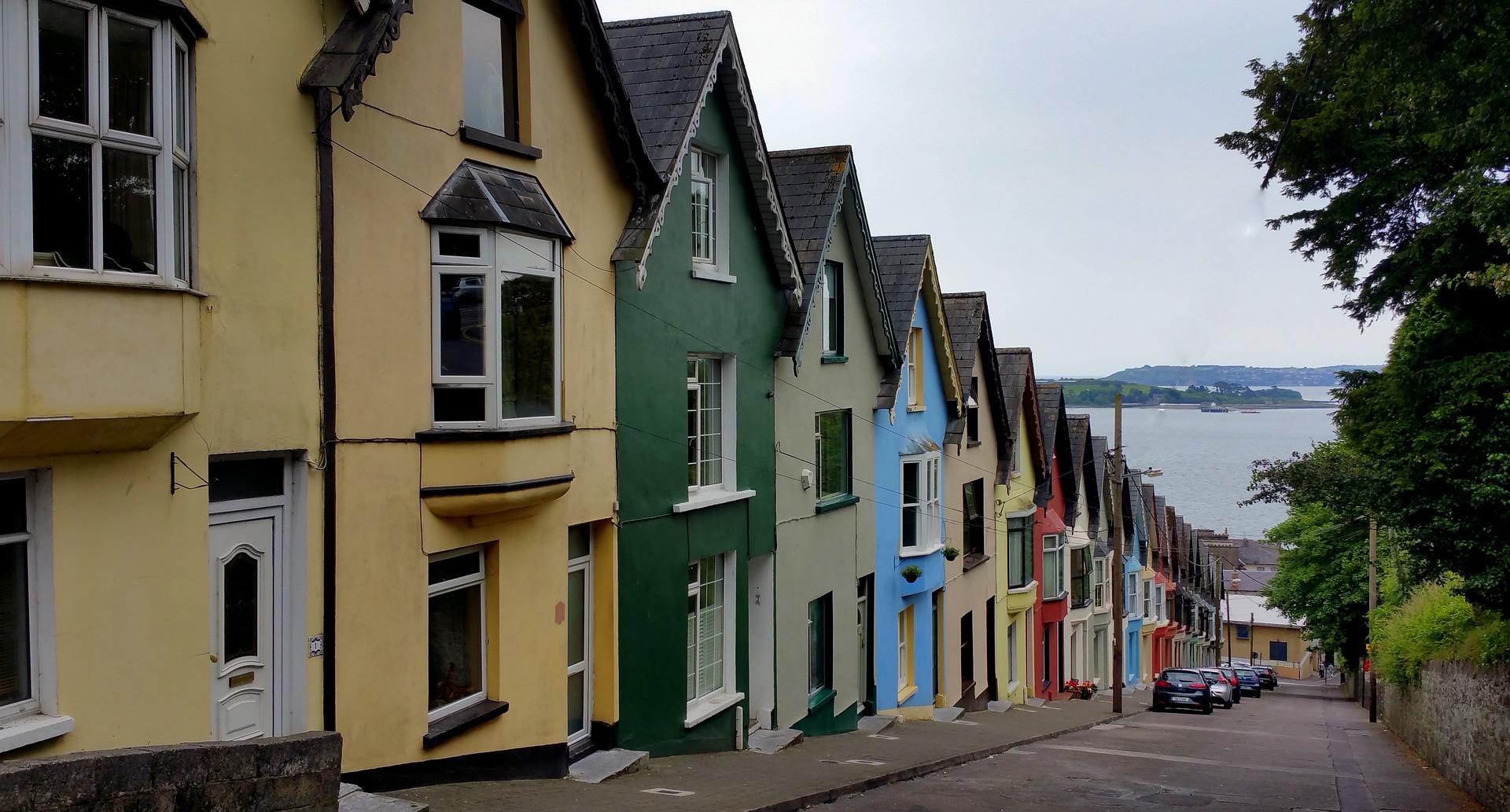 Irish homes descending on a hill