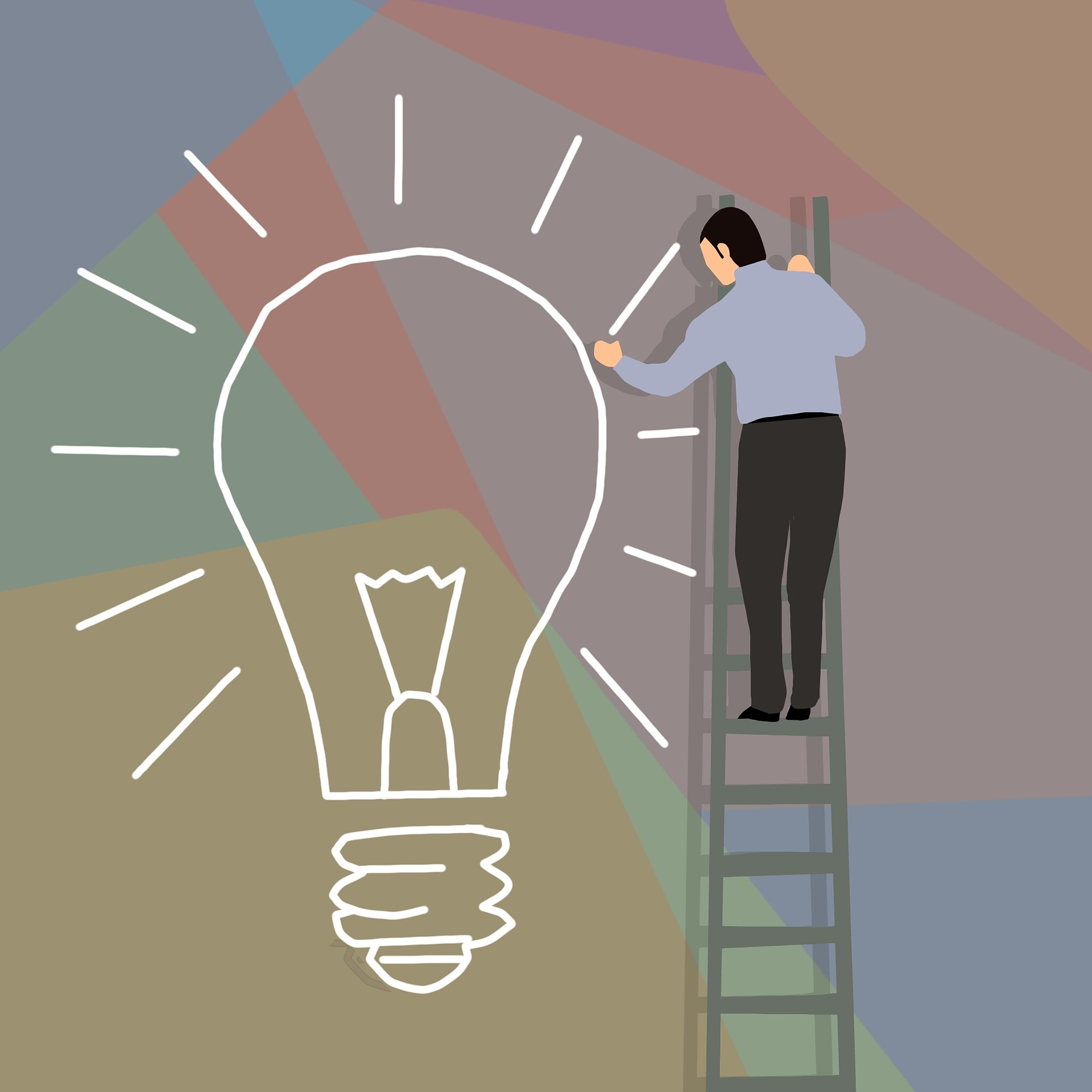 Man on ladder drawing a lightbulb