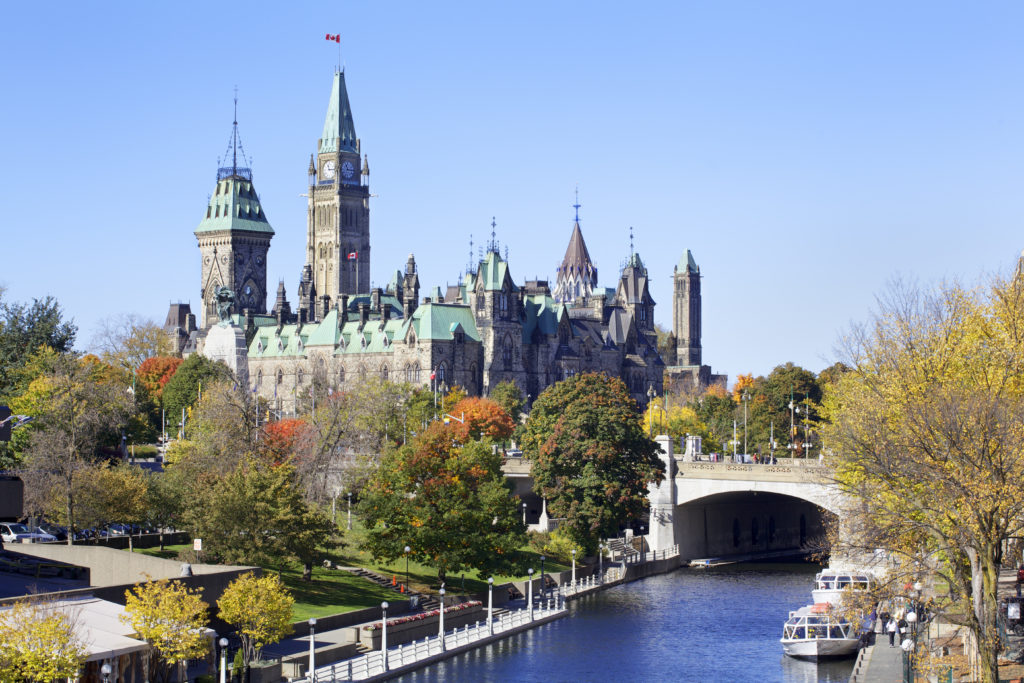 Daytime at Parliament Hill in Ottawa, ON