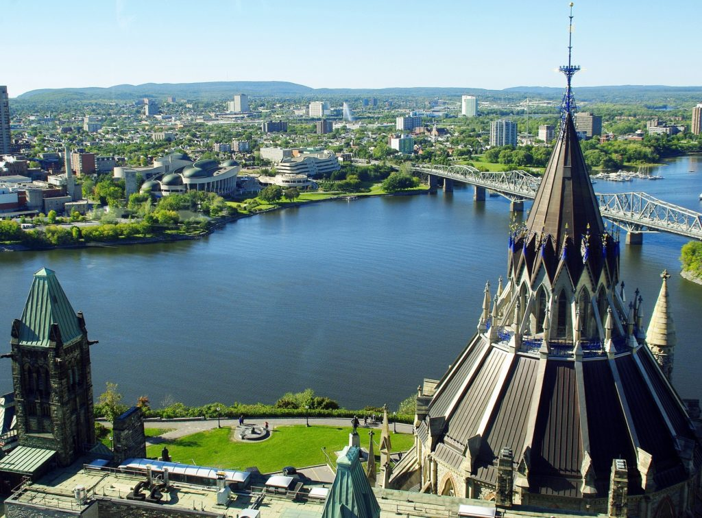 Ottawa's Rideau Canal facing Parliament Hill