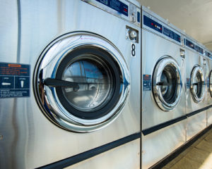 A line of laundry machines