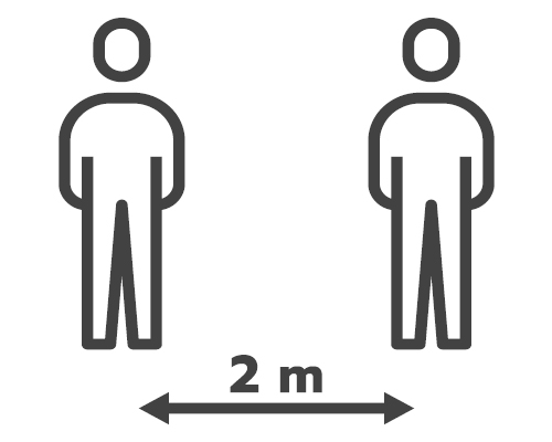 Signage indicating that people must keep a two-metre distance from one another.