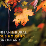 Image: autumn leaves. Text: ONPHA's Urban and Rural Indigenous Housing Plan for Ontario