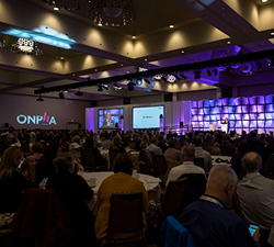 A view of the stage at the 2019 ONPHA Conference.