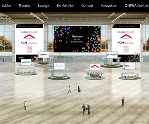 A virtual exhibit hall with virtual trade show booths