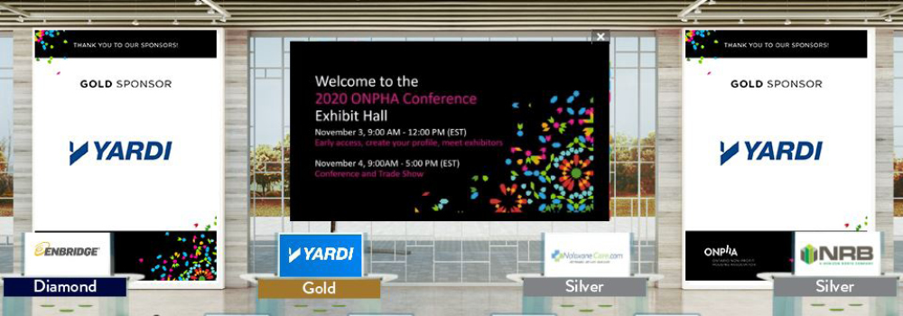 An image of ONPHA's virtual trade show, in a virtual exhibit hall