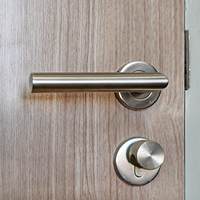 A close-up of an apartment door handle and deadbolt