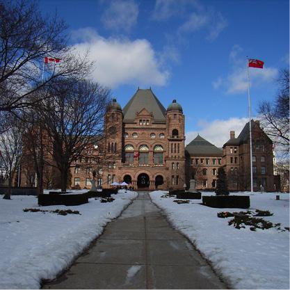 Queen's Park Legislature in winter.