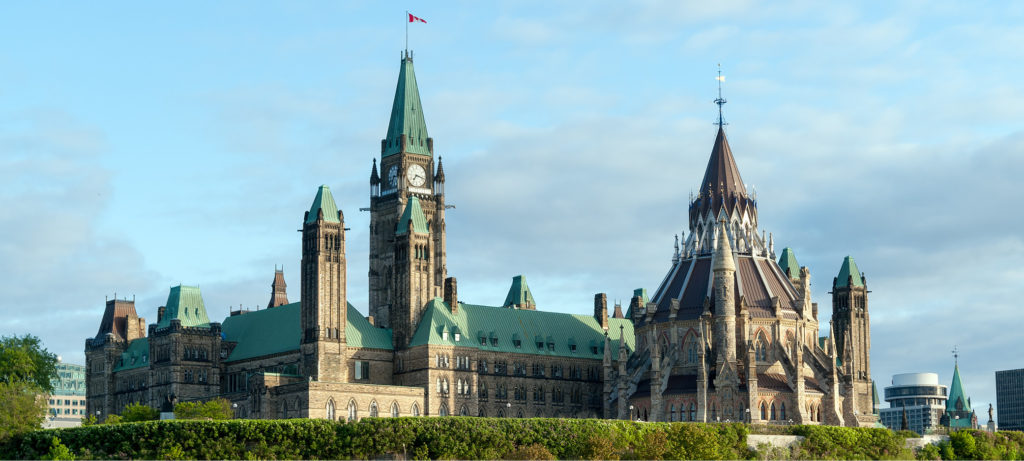 A view of the parliament buildings in Ottawa.
