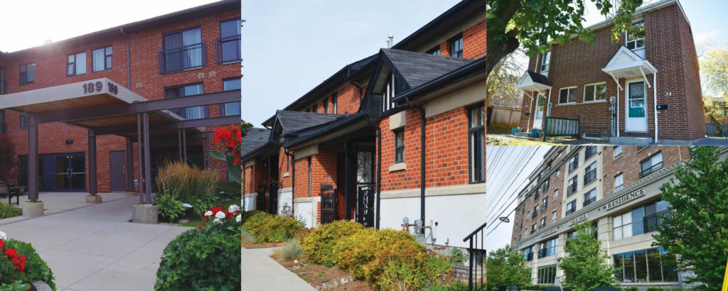 Images left to right: the outside of a low-rise apartment building; exterior view of a row of townhomes; exterior of a small multi-unit building; the outside of a low-rise apartment building