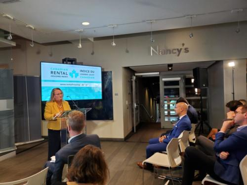 ONPHA CEO Marlene Coffey speaking at the launch of the updated Canadian Rental Housing Index
